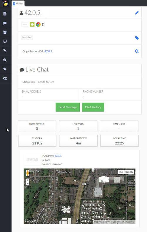 hitsteps maps et discussion en ligne avec un prospect ou client